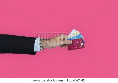 Business Attire Hand Holding Credit Cards