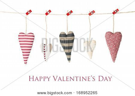 Valentine's day card - five hearts hanging, isolated on white background