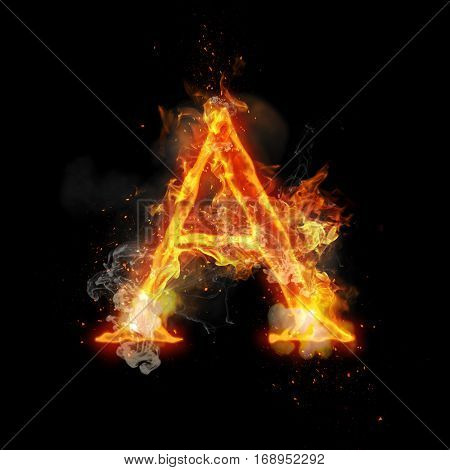 Fire letter A of burning flame. Flaming burn font or bonfire alphabet text with sizzling smoke and fiery or blazing shining heat effect. Incandescent hot red fire glow on black background poster