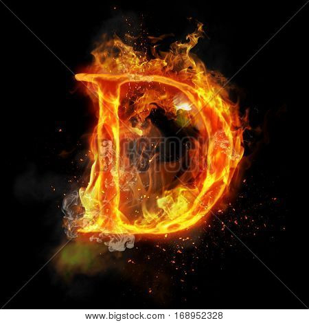 Fire letter D of burning flame. Flaming burn font or bonfire alphabet text with sizzling smoke and fiery or blazing shining heat effect. Incandescent hot red fire glow on black background poster