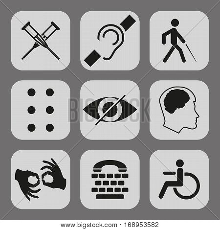 Vector disabled signs with deaf, dumb, mute, blind, braille font, mental disease, low vision, wheelchair icons. Collection of mandatory signs for public places and web design.