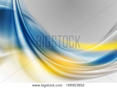 Blue and yellow abstract smooth waves vector digital background