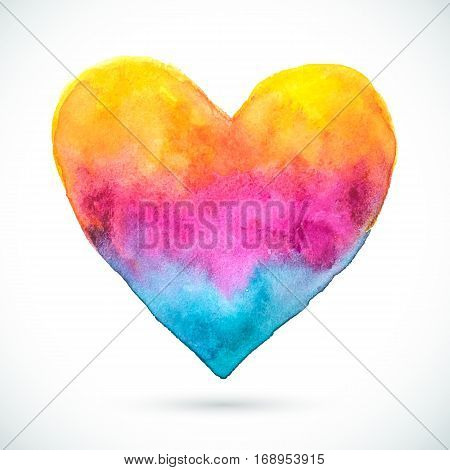 Vector Valentine's day. Wedding card. Watercolor heart background. Vintage color abstract texture heart.