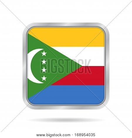 National flag of Comoros. Shiny metallic gray square button with shadow.