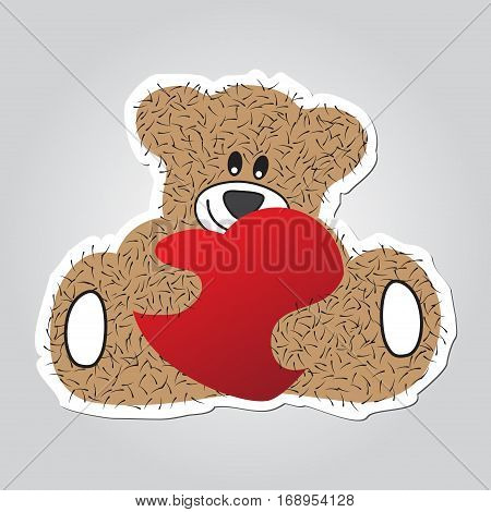 Sticker cartoon illustration - sitting and smiling brown furry bear with red heart in the hands. White outline with shadow.