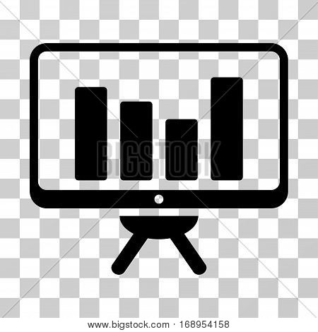 Bar Chart Monitoring Board icon. Vector illustration style is flat iconic symbol, black color, transparent background. Designed for web and software interfaces.
