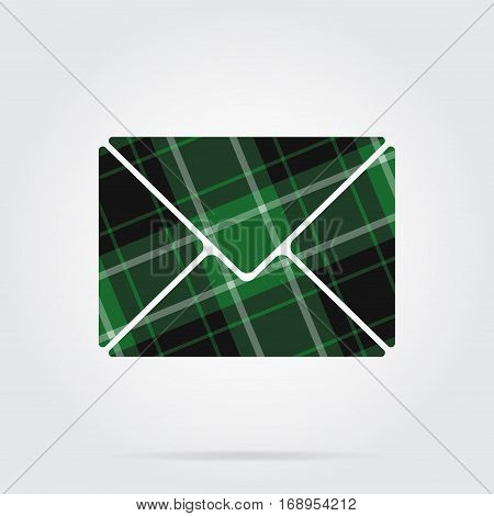green black isolated tartan icon with white stripes - mailing envelope and shadow in front of a gray background