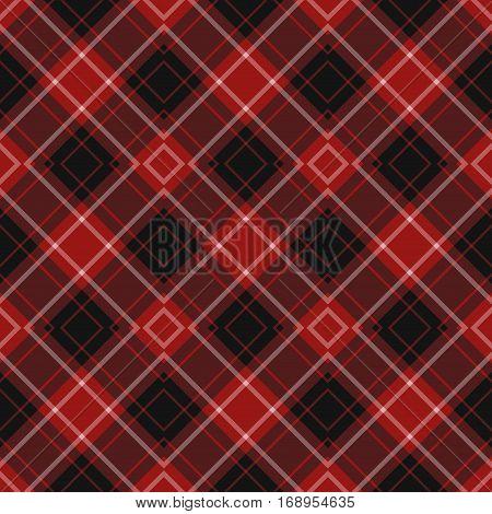 seamless illustration - red black diagonal tartan with squares and white stripes