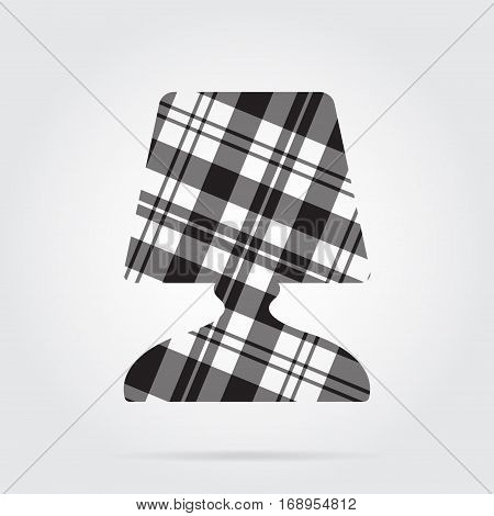 grayscale gray black isolated tartan icon with white stripes - bedside table lamp and shadow in front of a gray background