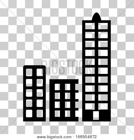 City icon. Vector illustration style is flat iconic symbol, black color, transparent background. Designed for web and software interfaces.