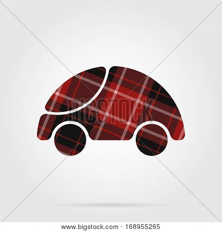 red black isolated tartan icon with white stripes - cute rounded car and shadow in front of a gray background