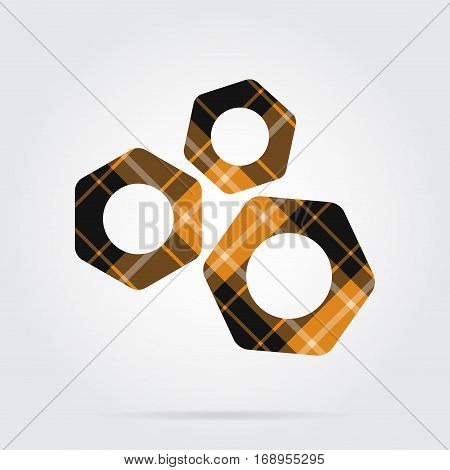 yellow black isolated tartan icon with white stripes - three nuts and shadow in front of a gray background