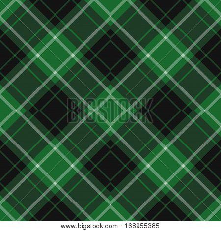 seamless illustration - green black diagonal tartan with squares and white stripes