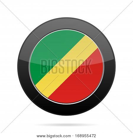 National flag Republic of Congo. Shiny black round button with shadow.