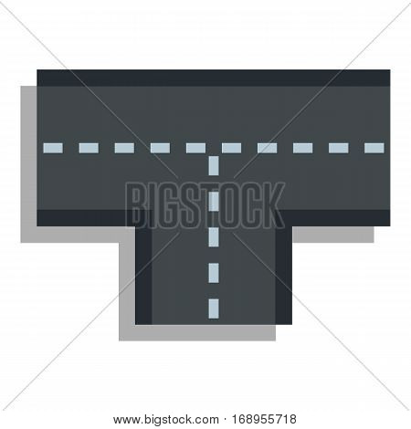 Tshaped crossroad icon. Flat illustration of tshaped crossroad vector icon for web