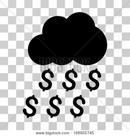 Money Rain icon. Vector illustration style is flat iconic symbol, black color, transparent background. Designed for web and software interfaces.