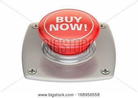 Buy Now Red Button 3D rendering isolated on white background