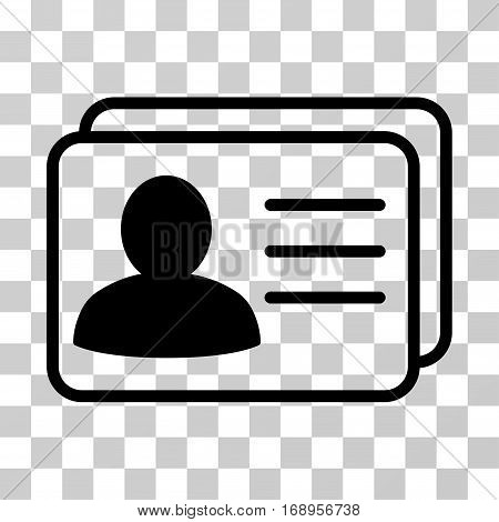 Account Cards icon. Vector illustration style is flat iconic symbol, black color, transparent background. Designed for web and software interfaces.