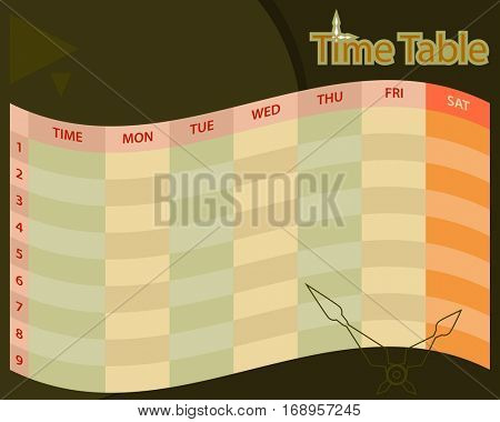 Timetable Schedule Planner Raster Illustration