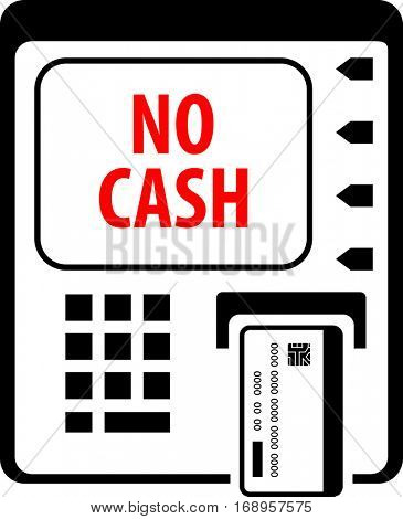 No Cash In ATM Raster Illustration