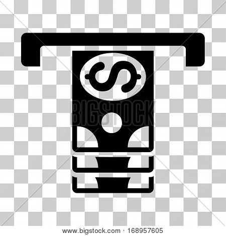 Banknotes Withdraw icon. Vector illustration style is flat iconic symbol, black color, transparent background. Designed for web and software interfaces.