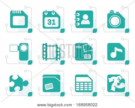 Stylized Mobile Phone, Computer and Internet Icons - Vector Icon Set