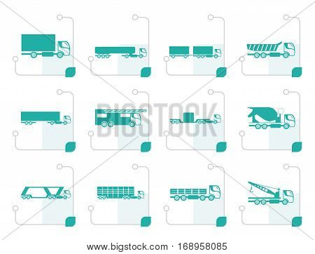 Stylized different types of trucks and lorries icons - Vector icon set