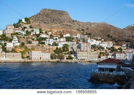 Harbour of Hydra island, Aegean sea, Greece.