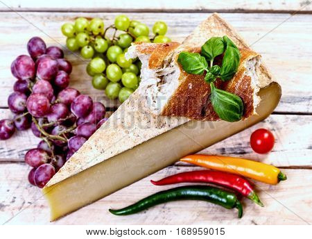 fresh diary products - french chees bread pepper grapes