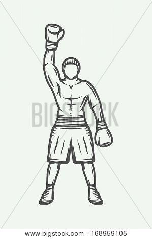 Vintage retro boxer. Can be used for logo badge emblem mark label. Monochrome graphic Art. Vector Illustration.