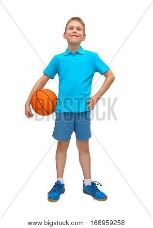Happy young boy having fun with basketball isolated on white