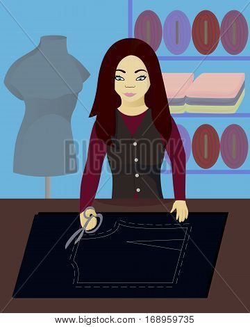 Seamstress cutter cut out fabric vector illustration