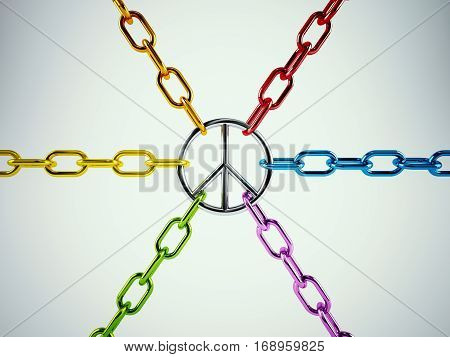 3D Rendering united for peace. chains tied to the symbol of peace