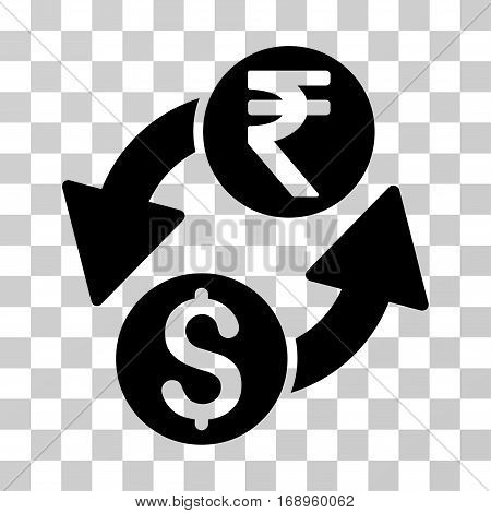 Dollar Rupee Exchange icon. Vector illustration style is flat iconic symbol, black color, transparent background. Designed for web and software interfaces.