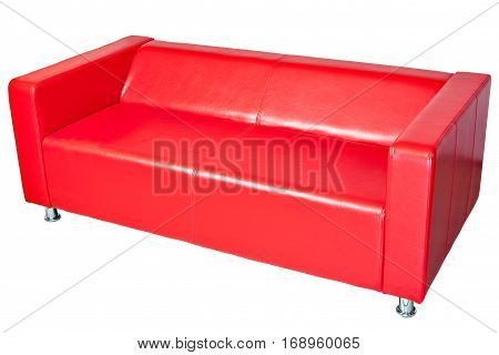 Red colored leatherette office sofa isolated on white clipping path saved.