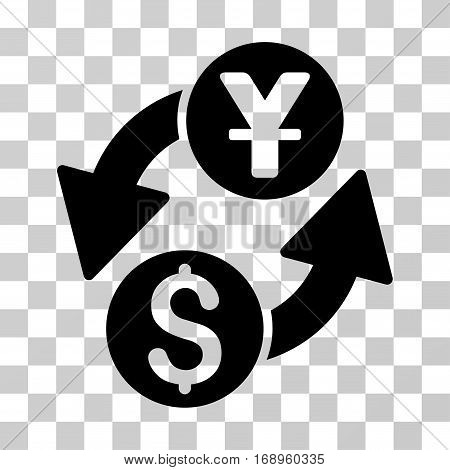 Dollar Yuan Exchange icon. Vector illustration style is flat iconic symbol, black color, transparent background. Designed for web and software interfaces.