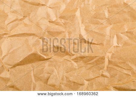 Crumbled brown empty clean paper texture background