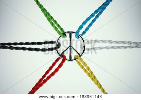 3D Rendering united for peace. Ropes tied to the symbol of peace