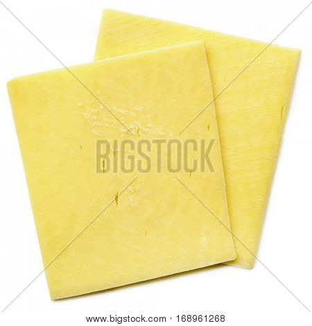 Two cheese slices isolated on white, top view.  Healthy natural cheddar.