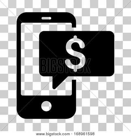 Money Phone SMS icon. Vector illustration style is flat iconic symbol, black color, transparent background. Designed for web and software interfaces.