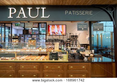 DUBAI, UAE - CIRCA NOVEMBER, 2016: Paul at Dubai International Airport. Paul is a French chain of bakery/cafe restaurants.