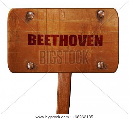 beethoven, 3D rendering, text on wooden sign