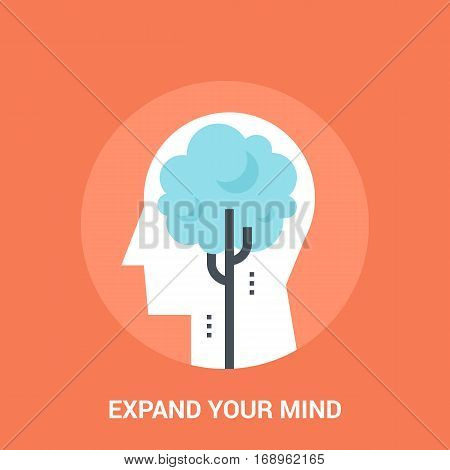 Abstract vector illustration of expend your mind icon concept