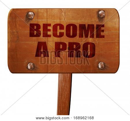 become a pro, 3D rendering, text on wooden sign