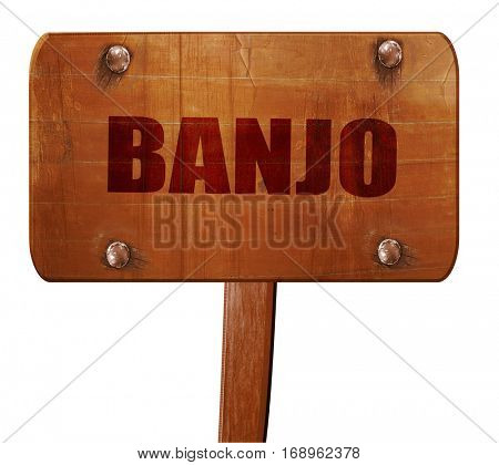 banjo, 3D rendering, text on wooden sign