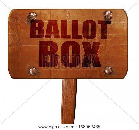 ballot box, 3D rendering, text on wooden sign