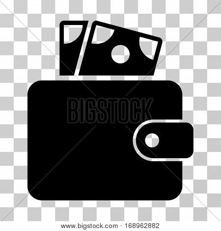 Wallet icon. Vector illustration style is flat iconic symbol, black color, transparent background. Designed for web and software interfaces.