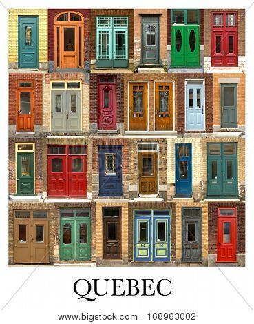 A collage of Quebecer doors, presented in a white border with the city name Quebec.