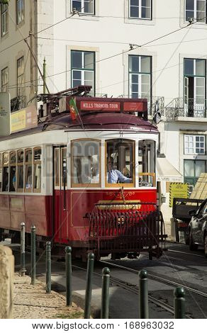 LISBON-PORTUGAL NOVEMBER 11, 2015: In operation since 1873, The Lisbon tramway network serves the municipality of Lisbon, Portugal. Tramway are popular with the tourists.