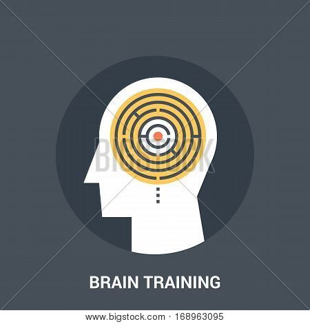Abstract vector illustration of brain training icon concept